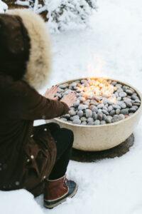 Fire pit in winter