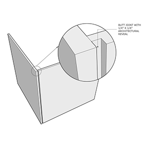 Butt joint with architectural reveal