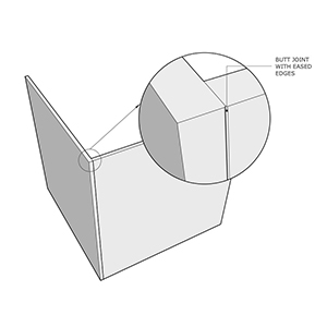 Butt joint with eased edges